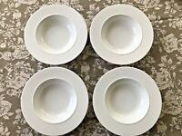 4 CRATE & BARREL Epoque White Porcelain Rimmed Soup Bowls Kathleen Wills Japan
