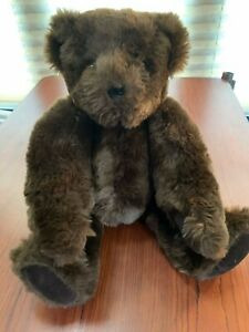 "Vermont Teddy Bear Authentic Jointed Plush 16"" Dark Brown Hand Made"