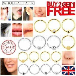 Nose Ring Sterling Silver Hoop Studs Helix Septum Set Earring Gold Body Piercing