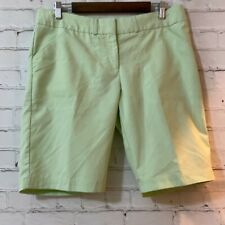 Peter Millar 10 Womens Green Wicking Pinstripe Casual Flat Front Chino Shorts