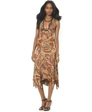 NWT Ralph Lauren paisley Sleeveless handkerchief  dress brown/multi L