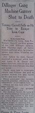 Dillinger Machine Gunner Shot to Death Tommy Carrol Falls 8 June 1934 B4
