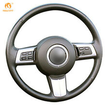 MEWANT Black Genuine Leather Steering Wheel Cover for Mazda MX-5 2009-2013