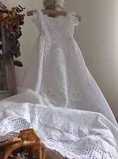 Antique French Baby Christening Gown ~ Lawn Cotton & Exquisite Brodery Anglaise