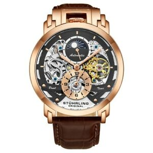 Stuhrling 906 Menai Rose Goldtone Automatic Skeleton 2 Time Open Heart Men Watch