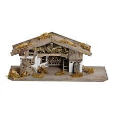 Weihnachtskrippe aus Holz, Handarbeit, 30x13x13 cm, Stall, Krippe, Holzhaus