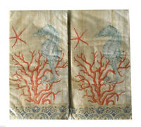Seahorse Coral Guest Hand Towels Paper Napkins Beach Summer House 20 pk Set of 2