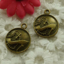 free ship 40 pieces bronze plated high-heeled shoes charms 22x18mm #2829