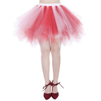 Women's Petticoat Slips Tulle Ballet Bubble Tutu Skirt Adult Party Costume