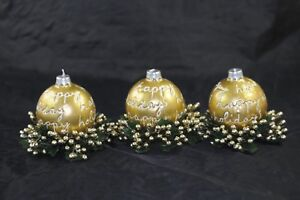 Vintage Christmas Decorative Candle Trio with Beaded Decorative Wreath Rings