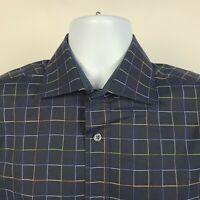 Bugatchi Uomo Shaped Fit Dark Blue Geometric Check Mens Dress Button Shirt Large