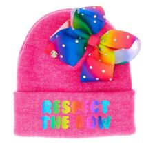 JOJO SIWA PINK RESPECT THE BOW WOOLLY BEANIE HAT WITH  BOW ATTACHED