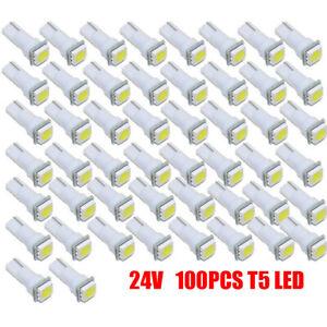 100x White T5 LED 24V Car Gauge Cluster Instrument Dashboard Light  73 74 79 85