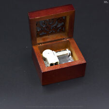 Wooden music box-wind up music finish wood-gothic pattern lid-Castle in the sky