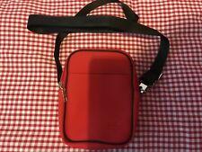 Vintage Lacoste Cross Body Shoulder Bag Red Black Strap Heavy Duty Stunning!