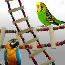 Colorful Wooden Hanging Ladder Swing Bridge Cage Toys for Pet Parrot Bird New Y2