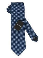 Hombres Krizia Uomo Cuadrado Azul Blanco Corbata de Seda