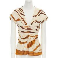 ROBERTO CAVALLI cream brown abstract print scoop neck top IT38 XS