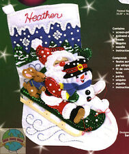 Felt Embroidery Kit ~ Janlynn Christmas Fun Sledding XMAS Stocking #090-0051
