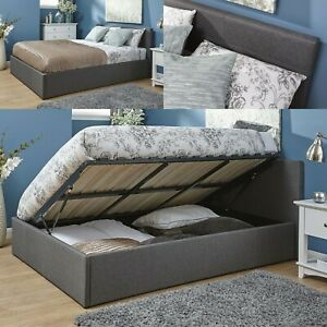 3ft 4ft 4ft6 5ft Grey Fabric End or Side Lift Ottoman Storage Gas Lift Bed