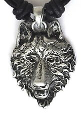 AMERICAN INDIAN WOLF PEWTER PENDANT MENS BOYS WOMENS GIRLS NECKLACE P0375
