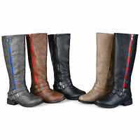 Journee Collection Womens Side Zipper Buckle Knee High Riding Boots New