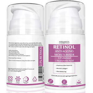 Retinol Cream Moisturiser 2.5% Hyaluronic Acid Anti Ageing Wrinkle Day & Night