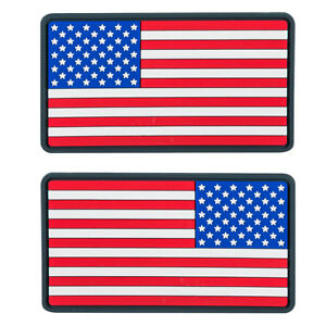 2x Helikon Large USA Flag Morale Patch Rubber Tactical Paintball True Colours