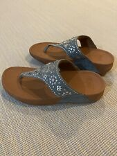 FitFlop Women's Sparkle Thong Comfort Sandals, Grey, Tan Size 8