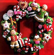 Bucilla Cookies & Candy Cane Christmas Gingerbread Wreath Felt Craft Kit 86264