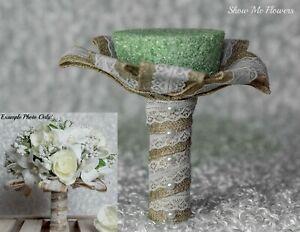 DIY Burlap Lace Pearl Rustic Bride Wedding Bouquet Handle Holder Collar Large