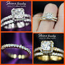 9K GOLD FILLED PRINCESS SQUARE DIAMOND WEDDING ETERNITY XMAS GIFT SOLID RING SET