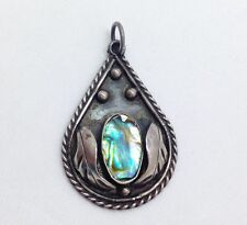 Vintage Taxco Abalone Pendant for Necklace Paua Shell 925 Sterling Silver Mexico
