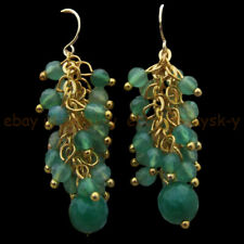 Faceted 4mm 8mm Green Emerald Round Gems Beads Cluster Dangle Gold Hook Earrings