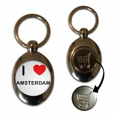 I Love Amsterdam - £1/€1 Shopping Trolley Coin Key Ring New