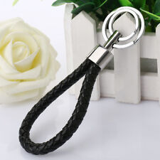 New Keychain Leather Rope Strap Weave Keyring Key Chain Ring Key Fob Gift