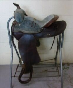 "QUALITY - Western Pleasure Barrel Racing SHOW Saddle - 14"" - SUEDE Seat - GREAT!"