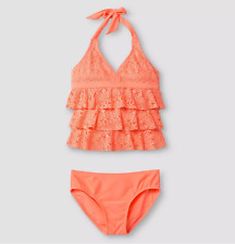 Plus Size Kids Girls Jack & Cat XL Plus 14 -16P Two piece Swim suit Orange