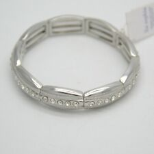 NWT lia sophia signed jewelry silver tone stretch tennis bracelet cut crystal