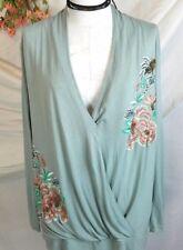 Anthropologie akemi kin sz large top boho floral beaded wrap soft blouse womens