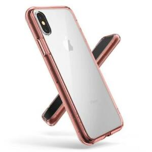 Apple iPhone XS ROSE GOLD Color Bumper Silicone Clear TPU Slim Back Cover Case