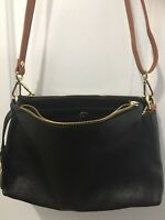 VALENTINA $198 Italian Pebbled Black Leather Triple Entry Zip Crossbody Bag NWOT