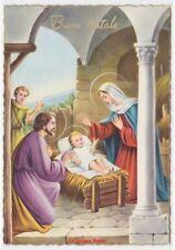 cartolina lucida religiosa vintage di Buon Natale Natività Sacra Famiglia
