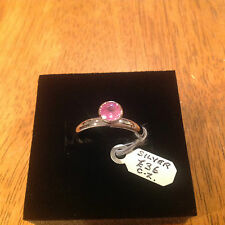 STERLING SILVER PINK CUBIC ZIRCONIA RING   SIZE O 1/2   £36     BRAND NEW