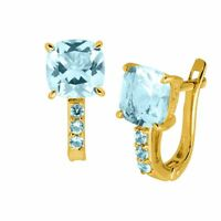 Simulated Aquamarine Hoop Earrings in 14K Gold-Plated Sterling Silver
