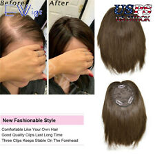 US Human Hair Clip In Bangs Top Piece Hair Extensions Topper Hairpiece for Women