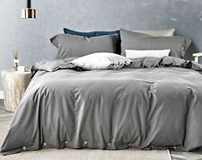 New ListingQueen Duvet Cover Set with Coconut Buttons - dark grey