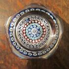 1976 WHITEFRIARS CONCENTRIC MILLEFIORI FACET CUT GLASS PAPERWEIGHT