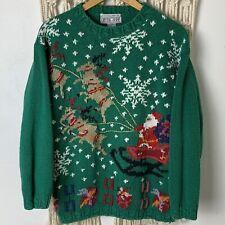 Vtg Crystal Kobe Christmas Sweater SM M Knit Embellished Santa Ugly Christmas