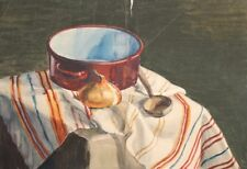 VINTAGE WATERCOLOR PAINTING STILL LIFE WITH POT, SPOON AND ONION